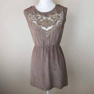 Champagne & Strawberry Brown Silk Mini Dress SM